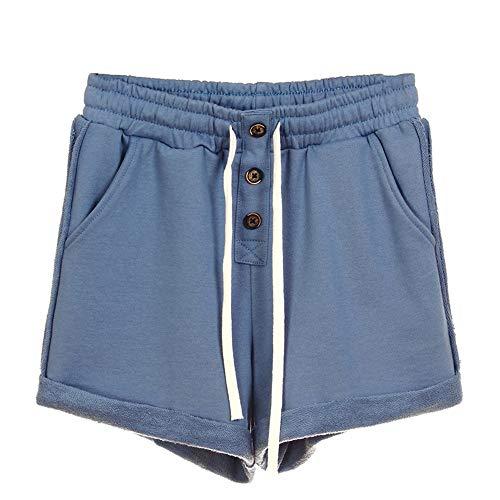 NOBRAND Pantalones de correr casuales para mujer de cintura media rizado pantalones cortos deportivos Pantalones sueltos y delgados de algodón Home Simple de pierna ancha Azul azul M