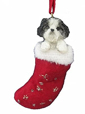 """Shih Tzu Christmas Stocking Ornament with """"Santa's Little Pals"""" Hand Painted and Stitched Detail from E&S Imports, Inc"""