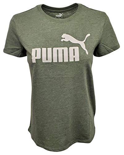 PUMA Camiseta de yoga amplificada para mujer, Thyme Heather/Logo blanco, Small