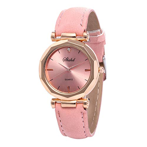 Womens Leather Watch,Fashion Casual Watches for Women,Waterproof Quartz Ladies Crystal Wrist Watch (Pink)