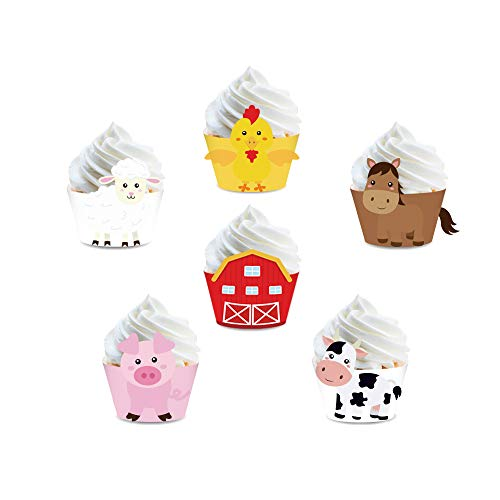 CC HOME 24 pcs Farm Animal Cupcake Wrappers for Baby Shower Birthday Party  Wedding Party Decorations