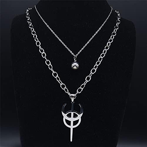 YUANBOO Clavícula de Acero Inoxidable Collar de Cadena de Capas de Plata Color Punk Escondido símbolo satánico Camisa Parche Accesorios de joyería