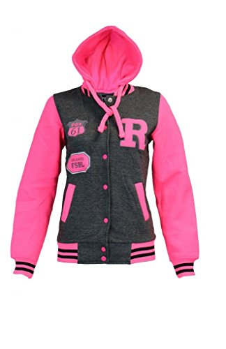 Kids Girls & Boys Unisex R Baseball Bomber Jacket Varsity Letterman with Hoodie Neon Pink Sleeve 9-13 YRS (7/8 Years, Charcoal Grey)