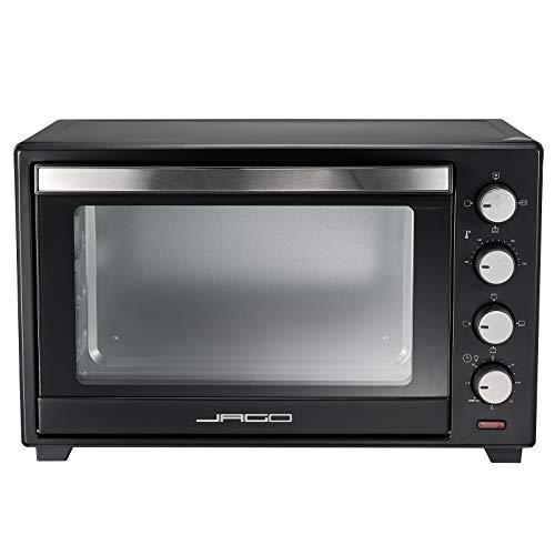 Jago® Minibackofen mit Umluft - Innenbeleuchtung, elektrisch, Doppelglastür, Timer, 100-230 °, 2000W, 48L, 5 Heizarten, Drehspieß, Schwarz - Mini Backofen, Mini-Küche, Grillofen, Pizza-Ofen