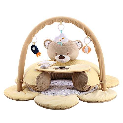 ROCK1ON 2 in 1 Baby Krabbeldecke Aktivität Center,Spieldecke für Babys mit weichem Spielbogen,abnehmbaren Spielzeugen,ab 0 Monaten