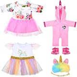 18 Inch Girl Dolls Outfit Doll Unicorn Clothes Pajamas with Unicorn Sleeping...