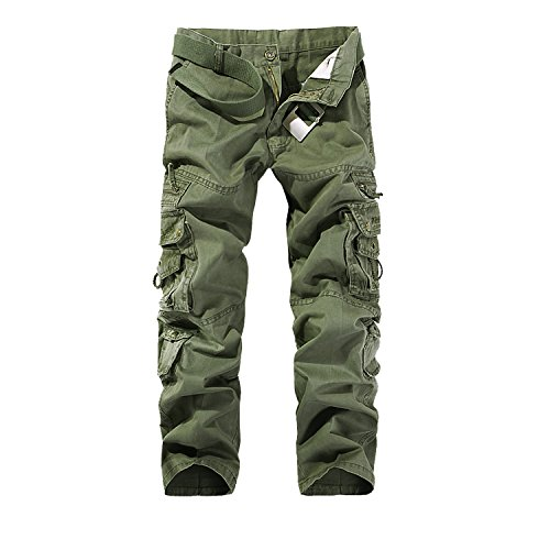 AYG Pantalon Cargo Hombre Mens Cargo Pants(Army Green,32)