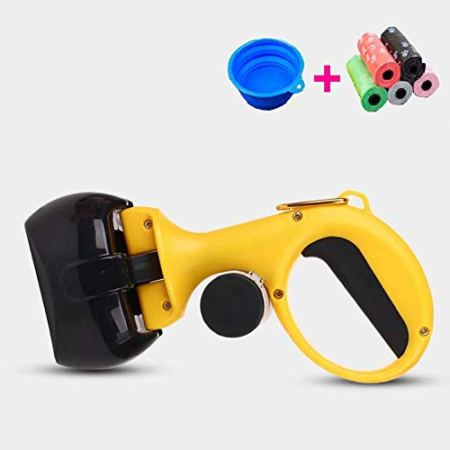 Doyime Poop Clamp Scoop with 10 Rolls Poop Bag Pet Dog Pooper Scooper Top Paw Maws Pooper Scooper Set for Dogs Valuable Package for Pick Up Pets Waste Yellow 25.5x12.5cm
