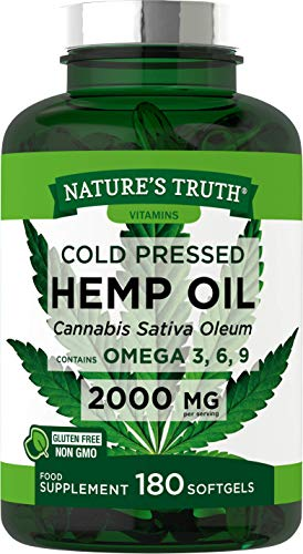 Hemp Seed Oil 2000mg 180 Softgel Capsules | High Strength, Cold Pressed | Natural Source of Omega 3, 6, and 9 | Non-GMO, Gluten Free Supplement