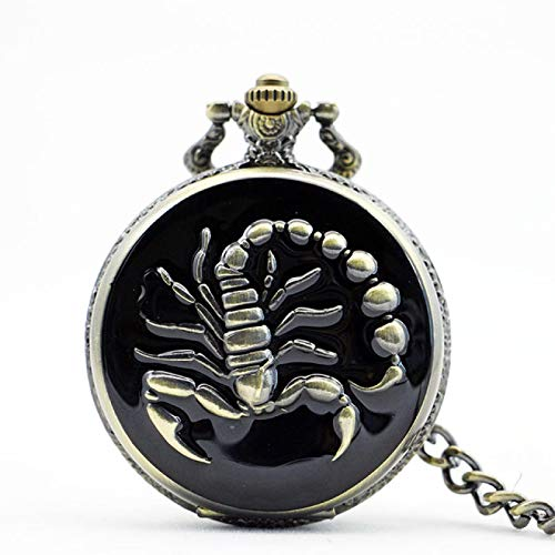 ZFHGT Engraved Pocket Watch Personalised, Unique Cool Scorpion Quartz Pocket Watches for Man Woman Clock Watch with Fob Chain