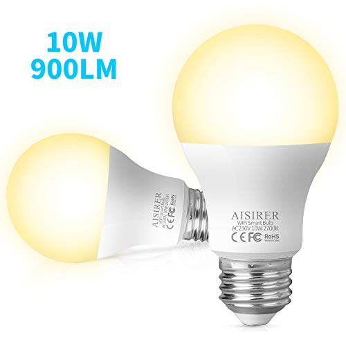 Alexa Glühbirnen AISIRER Smart Lampe E27, 10W 900LM WLAN LED Warmweiße Licht 2700K Wifi Birne, Kompatibel mit Amazon Alexa Echo und Google Assistant, Dimmbares smart bulb, kein Hub benötigt (2 Stück)