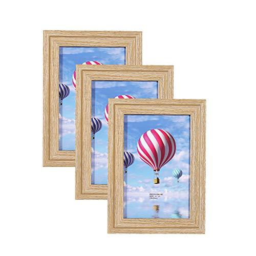 Metrekey 3er Set Bilderrahmen 10x15 cm Vintage Eiche-Optik aus MDF mit Glasfront Deko Fotorahmen für Foto Urkunden wandhängend oder freistehen
