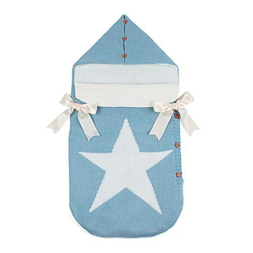Manta de bebé recién Nacido para bebé de 0-12 Meses (Azul Estrella)