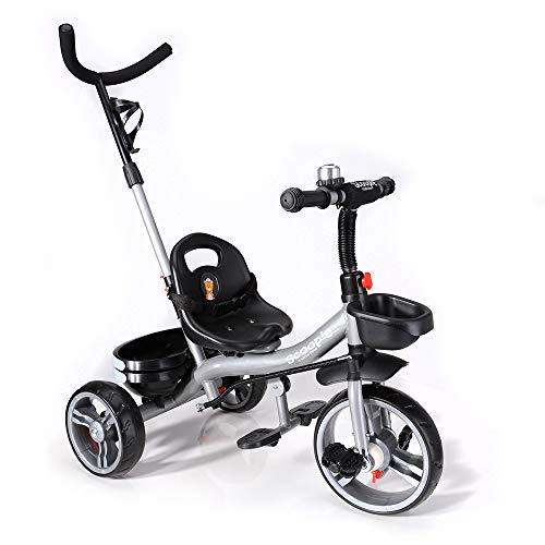Scoopie Trike 2in1 Dreirad mit Schubstange, Freilauf, Korb, Gurt