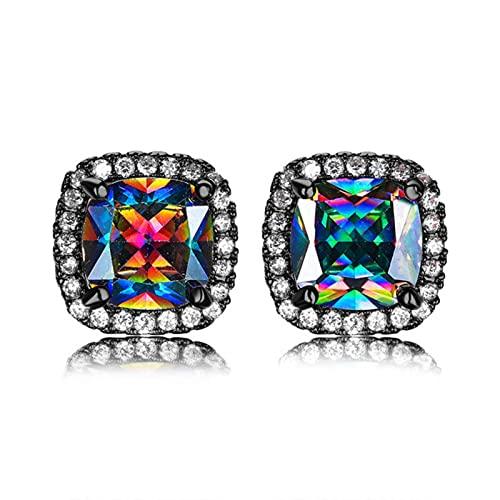 SALAN Pendientes Pequeños De Cristal Arcoíris Vintage para Mujer, Pendientes De Boda De Oro Negro De 14 Quilates para Mujer, Delicados Pendientes Cuadrados De Circonita