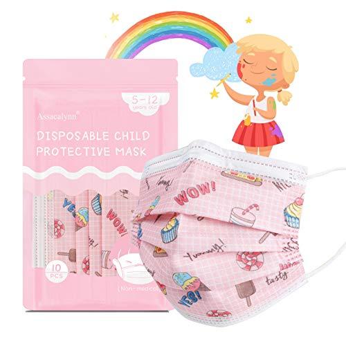 Assacalynn Disposable Kids Face Mask 50 Pcs Pink, Kids Masks for Girls Breathable Kids Masks with Cute Pink Cartoon Pattern