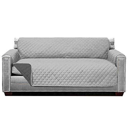 Sofa Shield Original Patent Pending Reversible Large Sofa Protector, Many Colors, Seat Width to 70 Inch, Furniture Slipcover, 2 Inch Strap, Couch Slip...