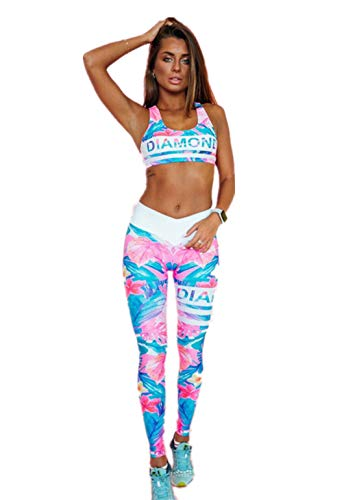Fliegend Damen Sportanzug Druck Trainingsanzug 2 Teile/Satz Yoga Set BH Top + Leggings Gym Fitness Set Frauen Laufen Jogging Änzuge Elastisch Sportwear S