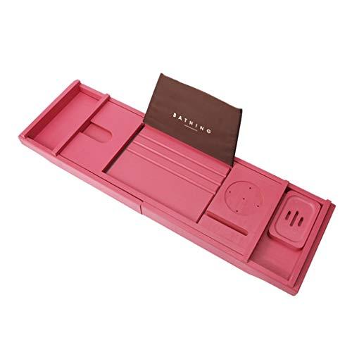LWF Bandejas para bañera bambú Puente Bandeja hidromasaje Baño Estantes Plato Ducha Organizador, extendiendo los Lados, Construido Libro Tableta Copa Ranura Titular teléfono (Color : Red)