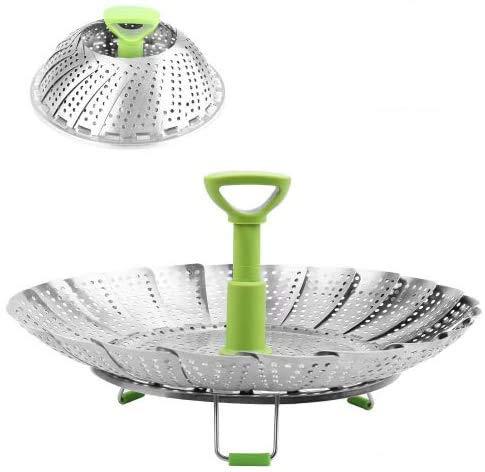 BangShou Edelstahl Dampfgarer, Einstellbar Dünsteinsatz mit ausziehbarem Griff für Gemüse und Obst, faltbarer Körbchen rostfrei geeignet für Spülmaschinen Baby-Nahrung(14-23cm)
