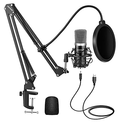 Neewer USB Mikrofon für Windows und Mac mit Aufhängescherenarmständer, Shock Mount, Pop Filter, USB Kabel und Tischbefestigungsklammer Set für Rundfunk und Tonaufnahme (Schwarz)