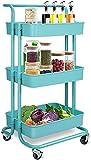 hsj Carrito de almacenamiento, organizador multiusos de 3 capas, organizador multiusos, estante de servicio de torre, utilizado en almacenamiento de baño y cocina (color: azul)