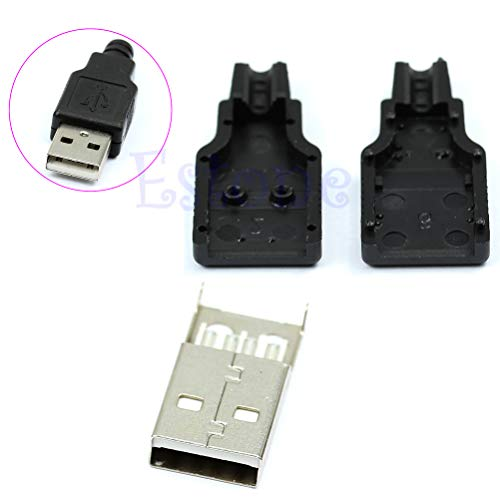 JOYKK 10Pieces Type A USB 4-Pin-stekker met zwarte kunststof afdekking - Zwart