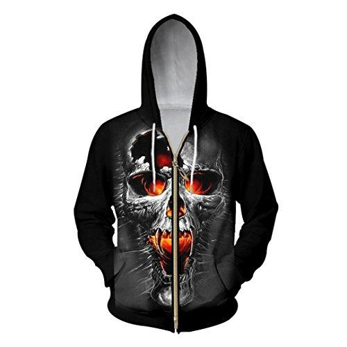 3D-Zipper Hoodies Männer gebrochen Totenkopf Bedruckt Sweatshirt Hoody männlichen Hooded Zip Outerwear schwitzt Oversize Lange Kordelzug Jacke schwarz XL