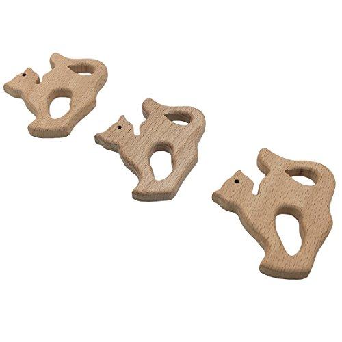 Coskiss 3pcs Anneau de dentition en bois Fox bois dentition Kitty anneau bébé jouets Montessori matériaux cadeau pour nouveau-né en bois chat figure organique Kid présent (3pcs)