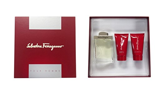 Salvatore Ferragamo for Men - 3 Pc Gift Set 3.4oz EDT Spray, 2.5oz After Shave Balm, 2.5oz Shampoo And Shower Gel.