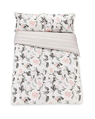 Kirkton House PINK & GREY ROSE STRIPE DOUBLE DUVET COVER SET WITH PILLOWCASES MACHINE WASHABLE