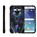 TurtleArmor | Compatible with Samsung Galaxy J7 (2015) Case | J700 [Dynamic Shell] Hybrid Cover Impact Absorber Shock Silicone Combo Hard Kickstand Wild Animal - Fierce Panther