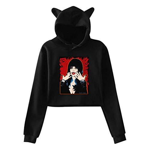 IRUD Women's Teen Girls Cute Cat Ear Hooded Elvira A Night of Titillating Eeyore Sweatshirt Sexy Hoodies Crop Top Black Large