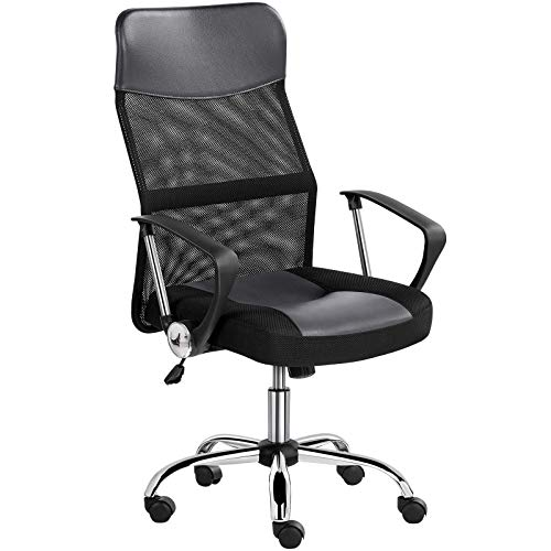 YAHEETECH Mesh Home Office Chair Ergonomic Desk Chair, Computer Chair Executive Rolling Swivel Chair with Lumbar Support Armrest,Grey