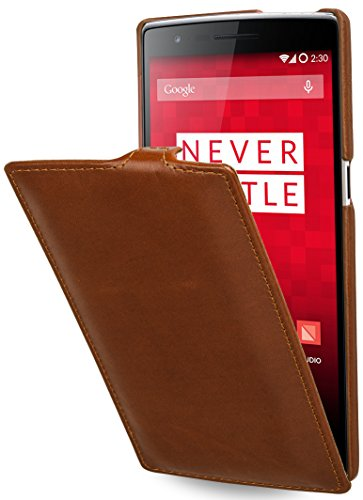 StilGut UltraSlim Hülle, Tasche aus Leder kompatibel mitOnePlus One, Cognac
