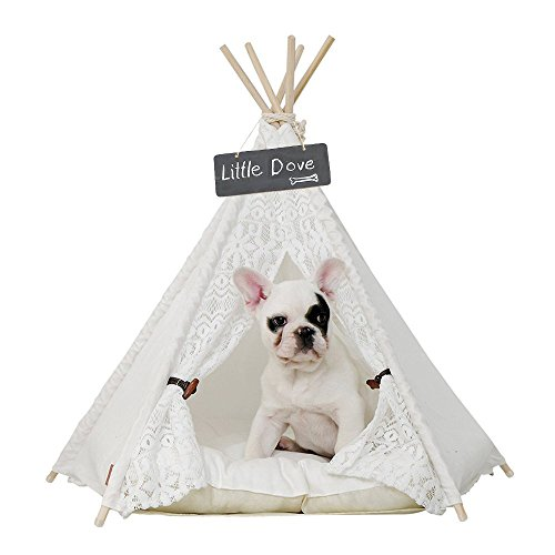 little dove Pet Teepee Dog(Puppy) & Cat Bed - Portable Pet Tents & Houses for Dog(Puppy) & Cat Lace Style 24 Inch no Cushion