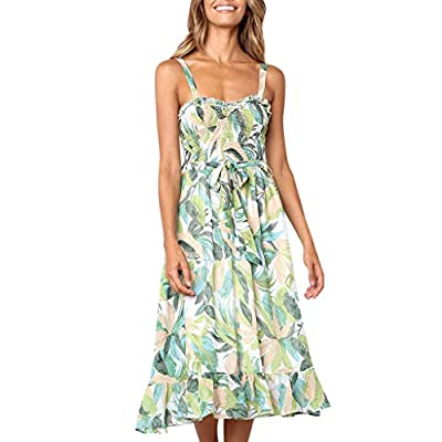 pitashe Women?s Midi Dress A-Line Spaghetti Strap Boho Dress Summer Sundress Semi-Backless Button Down Midi Dress with Belt and Pockets Green