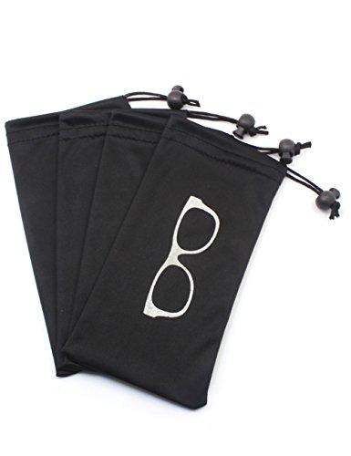 Almacenamiento suave Bolsa Microfibra con cordón Cerradura para gafas, cosméticos, teléfonos celulares, tarjetas, bolígrafos, llaves, bolso, artículo pequeño para ahorrar espacio (4 PCS Negro/juego)