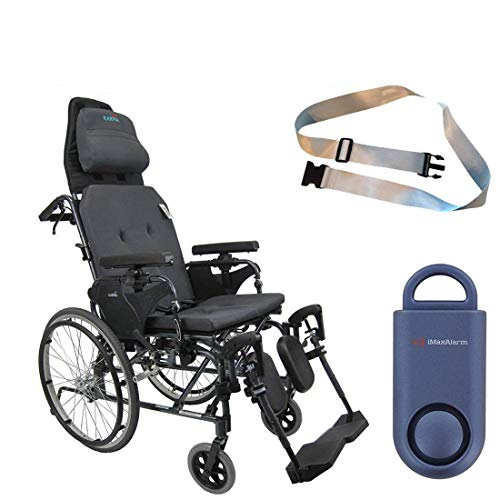 Karman MVP502 20' Width X 18' Depth seat Lightweight Ergonomic Reclining Wheelchair & Free 130 dB Matte Blue Personal Safety Alarm/Siren! + Silver Belt!