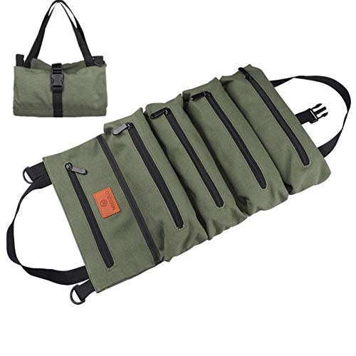 Roll Up Tool Bag,Multi-Purpose Tool Organizer,Canvas Tool Roll Pouch with 5 Spacious Pockets (Green)
