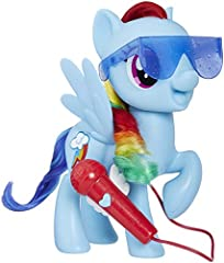 3 modes of musical play: listen, sing solo, or duet Rainbow Dash figure sings 5 songs from entertainment Press microphone button to sing with her or alone She says 15 phrases Includes singing pony figure and instructions with lyrics. Ages 3 and up.