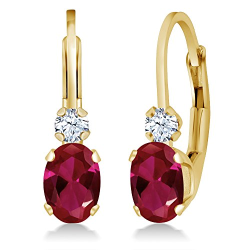 Gem Stone King 1.44 Ct Oval Red Created Ruby White Created Sapphire 14K Yellow Gold 3/4 Inch Earrings