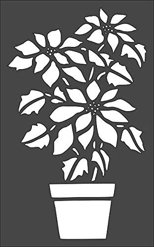 Online limited product 1- 7x11 inch Custom Cut Stencil Poinsettia Plant PC-11 Flower Genuine