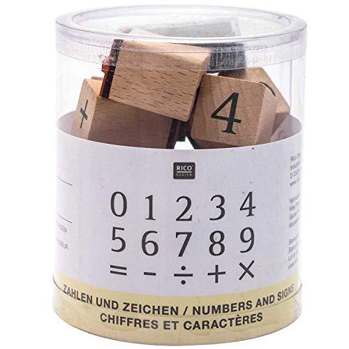 Rico Design Stempelset Zahlen - Holzstempel mit Stempelkissen zum Basteln für Kinder - 15 Motive - Stempel aus Holz DIY