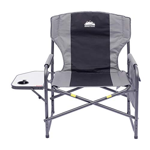 Coastrail Outdoor Oversized Director Chair 600lbs, 28' Wide, XXL Full Back Padded Camp Chair with Table & Storage, Heavy Duty for Camping, Patio, Lawn, Gray, X-Large