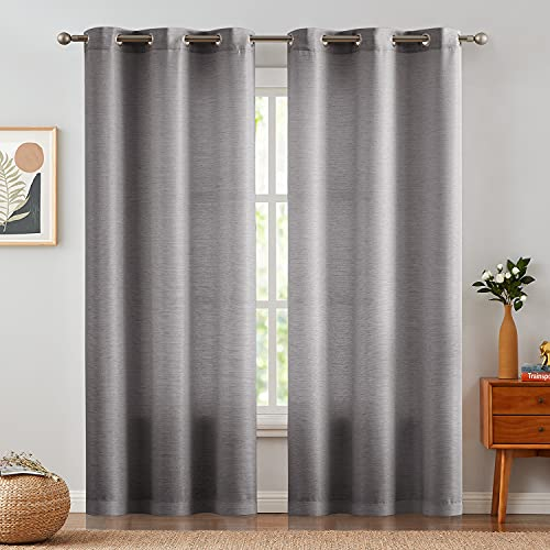 JINCHAN Curtains for Living Room 84 Inch Length 2 Panels Linen Textured Light Filtering Drapes for Bedroom Grommet Top Jacquard Window Treatment Curtains Grey