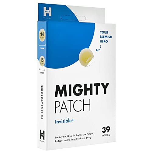 Mighty Patch Invisible+ - Hydrocolloid Acne Pimple Patch Ultra Thin Spot Treatment (39 count) for Face and Day, Vegan, Cruelty-Free