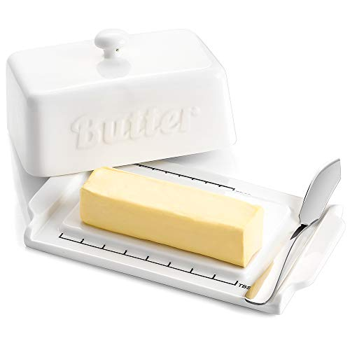 DOWAN Porcelain Butter Dish with Lid, Butter Container with Steel Knife, Large Butter Dish, White