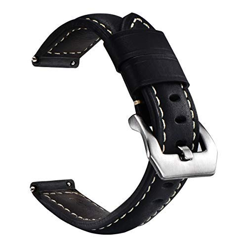quick release watch band leather vintage for digital and analogue watches with stainless-steel buckle, men and women…