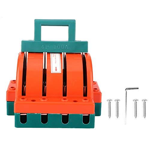 Interruptor de desconexión de cuchillo de doble tiro, suministros eléctricos rojo anaranjado 4P AC380V 63A/100A, interruptor eléctrico suministros eléctricos(4P 100A)
